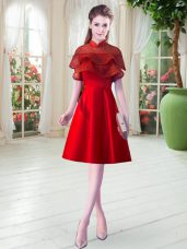 Super Satin Cap Sleeves Knee Length Dress for Prom and Lace