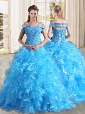 Baby Blue A-line Off The Shoulder Sleeveless Organza Sweep Train Lace Up Beading and Lace and Ruffles Quinceanera Gowns
