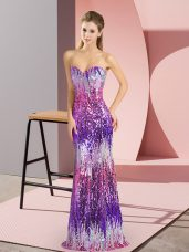 Modern Floor Length Lace Up Dress for Prom Eggplant Purple for Prom and Party with Sequins