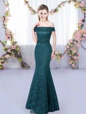 Cute Mermaid Damas Dress Peacock Green Off The Shoulder Sleeveless Floor Length Lace Up
