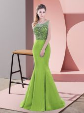 Satin Sleeveless Prom Gown Sweep Train and Beading and Lace