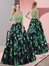 Stunning Floor Length Multi-color Prom Gown Scoop Long Sleeves Lace Up