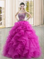 Sweetheart Sleeveless Quinceanera Gown Floor Length Beading and Ruffles Fuchsia Organza