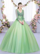 Decent V-neck Long Sleeves Tulle Quinceanera Gowns Lace and Appliques Lace Up