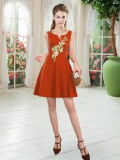 Pretty Rust Red Satin Zipper Scoop Sleeveless Mini Length Appliques