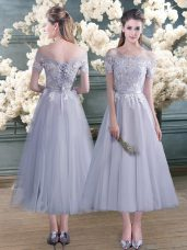 Designer Grey Short Sleeves Ankle Length Lace and Appliques Lace Up Prom Dress