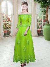 High Quality Off The Shoulder 3 4 Length Sleeve Floor Length Lace Tulle