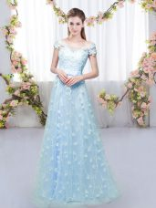 Floor Length Lace Up Dama Dress for Quinceanera Blue for Prom and Party and Wedding Party with Appliques