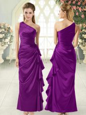 Best Purple Column/Sheath Ruffles Prom Dresses Side Zipper Taffeta Sleeveless Ankle Length