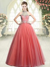 Fashion Watermelon Red A-line Tulle Halter Top Sleeveless Beading Floor Length Zipper Dress for Prom