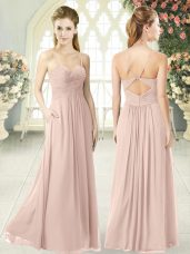 Lovely Pink Criss Cross Dress for Prom Ruching Sleeveless Floor Length