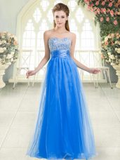 Stylish Blue Tulle Lace Up Sweetheart Sleeveless Floor Length Formal Evening Gowns Beading