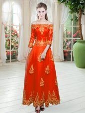 Decent Floor Length Orange Red Prom Gown Tulle 3 4 Length Sleeve Lace