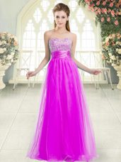 Free and Easy Sweetheart Sleeveless Lace Up Dress for Prom Purple Tulle
