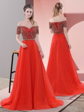Red Lace Up Off The Shoulder Beading and Lace Dress for Prom Short Sleeves Sweep Train