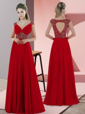 Lace Up Evening Dress Red for Prom and Party with Beading Sweep Train