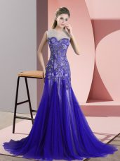 Tulle Sleeveless Womens Evening Dresses Sweep Train and Beading and Appliques