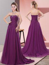 Cute Purple Chiffon Zipper Sleeveless Sweep Train Beading and Lace