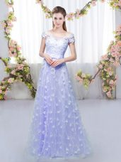 Lavender Empire Off The Shoulder Cap Sleeves Tulle Floor Length Lace Up Appliques Dama Dress for Quinceanera