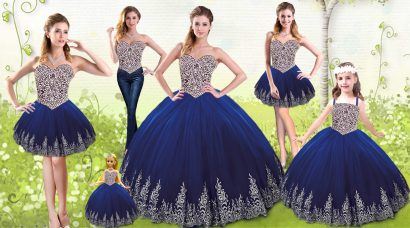 Fine Floor Length Royal Blue Quince Ball Gowns Tulle Sleeveless Beading and Appliques