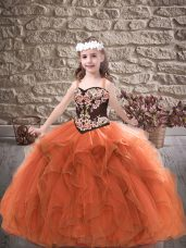 Straps Sleeveless Pageant Dress Toddler Floor Length Embroidery and Ruffles Rust Red Tulle