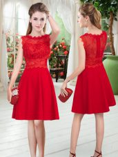 Best Empire Prom Gown Red Scalloped Satin Sleeveless Knee Length Zipper