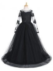 Black Tulle Clasp Handle Winning Pageant Gowns Long Sleeves Brush Train Lace
