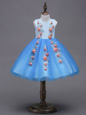 Blue Sleeveless Hand Made Flower Mini Length Flower Girl Dresses