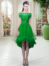 Off The Shoulder Short Sleeves Prom Dress High Low Appliques Green Tulle