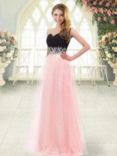 Clearance Tulle Sleeveless Floor Length Prom Gown and Appliques