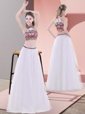 Custom Designed Two Pieces Dress for Prom White High-neck Tulle Sleeveless Floor Length Lace Up