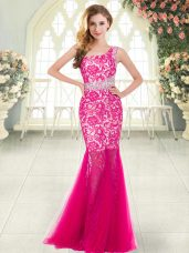 Hot Pink Sleeveless Floor Length Beading and Lace Zipper Evening Dress