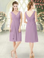 Exquisite Purple Sleeveless Ruching Knee Length Dress for Prom