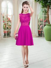Knee Length Fuchsia Homecoming Dress Scalloped Sleeveless Zipper
