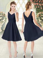 Cheap Black V-neck Neckline Ruching Prom Party Dress Sleeveless Zipper