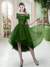 Lovely Short Sleeves High Low Lace Lace Up Prom Dresses with Green