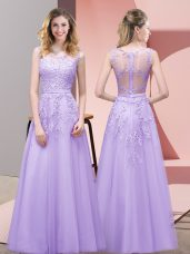 Lace Homecoming Dress Lavender Zipper Sleeveless Floor Length