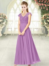 Lovely Lilac Empire V-neck Cap Sleeves Chiffon Ankle Length Zipper Lace Prom Party Dress