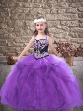 Inexpensive Purple Tulle Lace Up Straps Sleeveless Floor Length Pageant Gowns Embroidery and Ruffles