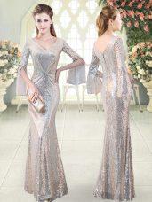 Silver Mermaid V-neck Long Sleeves Sequined Floor Length Ruching Prom Dresses