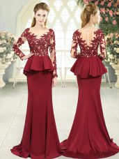 Red Long Sleeves Lace and Appliques Zipper Evening Party Dresses