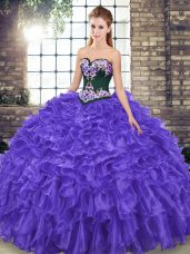 Beauteous Organza Sleeveless Ball Gown Prom Dress Sweep Train and Embroidery and Ruffles