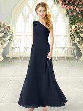 Charming Black Sleeveless Ankle Length Ruching Side Zipper Prom Dress