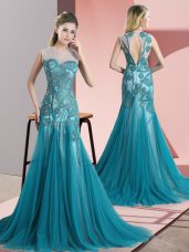 Unique Teal Backless Scoop Beading and Appliques Prom Dress Tulle Sleeveless Sweep Train