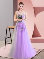 High End Lavender Tulle Lace Up Sweetheart Sleeveless Floor Length Dress for Prom Appliques