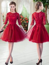 Wine Red A-line Lace Prom Dress Zipper Tulle Half Sleeves Knee Length