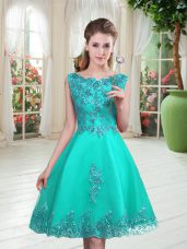 Colorful Sleeveless Beading and Appliques Lace Up Prom Dresses