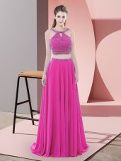 High End Fuchsia Straps Neckline Beading Prom Dress Sleeveless Lace Up