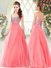 Watermelon Red Formal Evening Gowns Prom and Party with Beading Sweetheart Sleeveless Lace Up