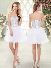 Top Selling White A-line Beading Homecoming Dress Lace Up Tulle Sleeveless Mini Length